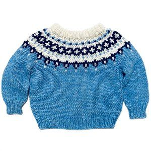 Chunky Knit Nordic Sweater Blue White
